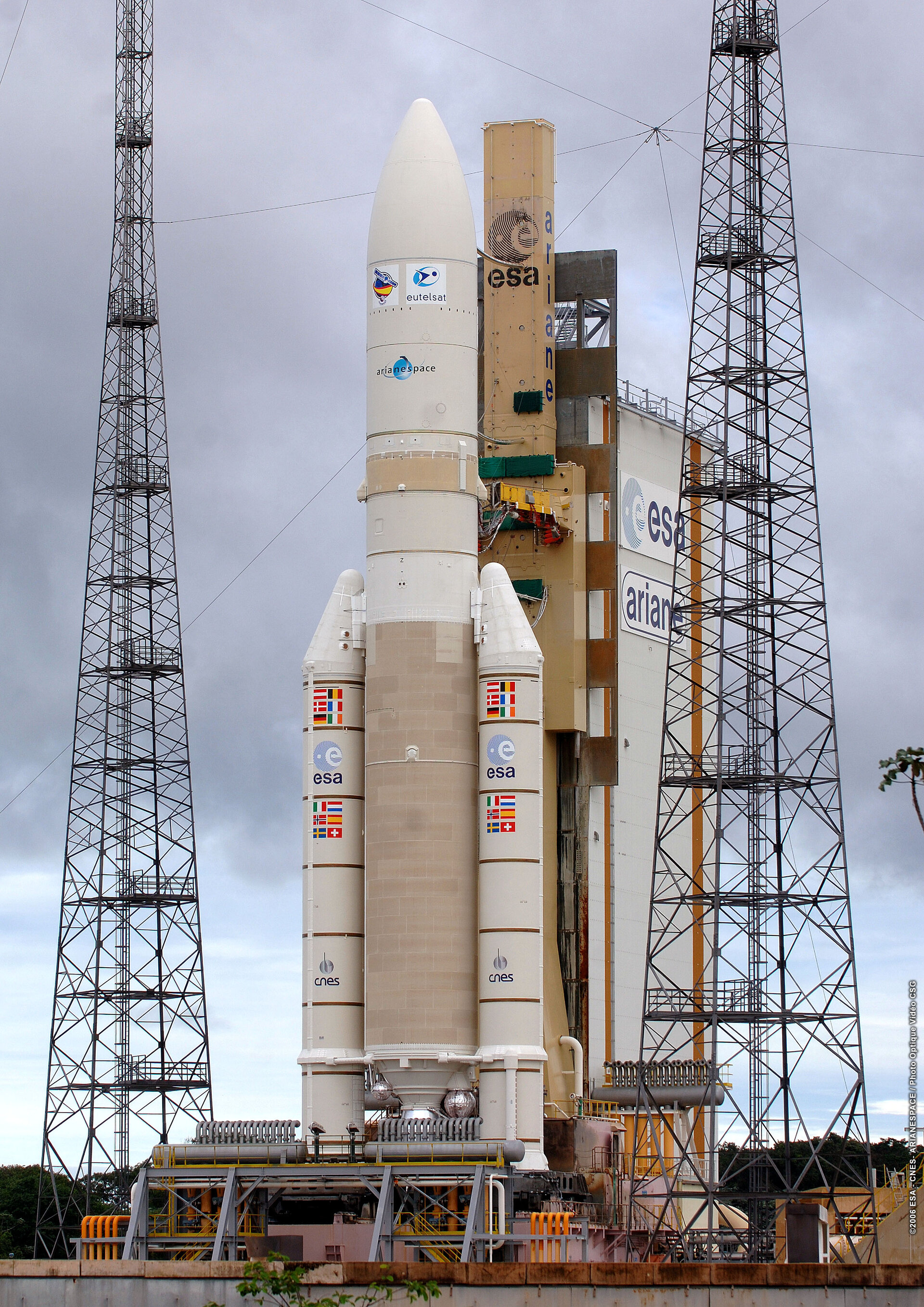 The Ariane 5, V170  launcher sits on its mobile launch table