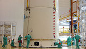 The SPAINSAT satellite is encapsulated on top of the Ariane 5 la