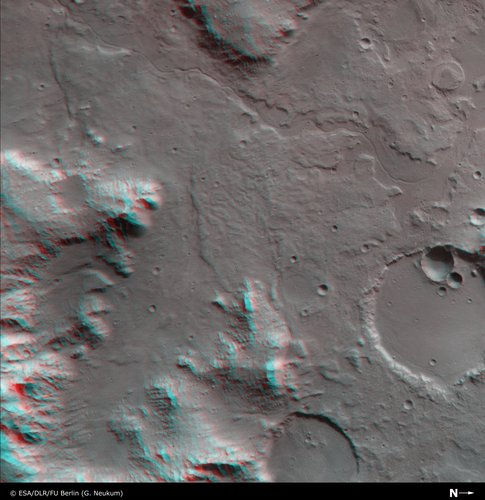 3D anaglyph view of Libya Montes valley region
