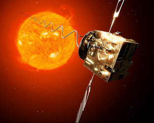 Artist's view of Venus Express investigating on solar wind conditions