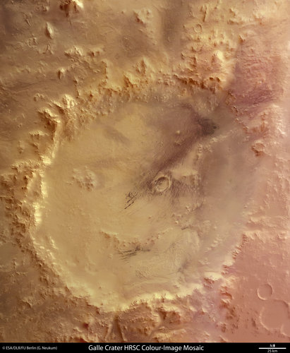 Crater Galle, the 'happy face' on Mars