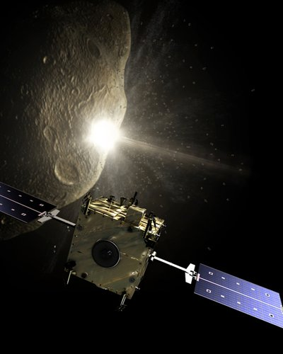 Impacting into the asteroid