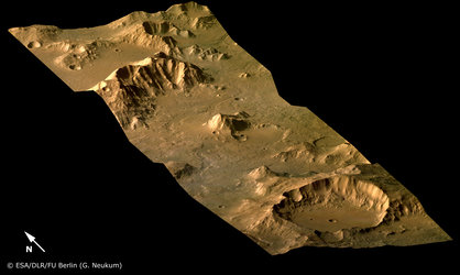 Libya Montes valley region on Mars, perspective view