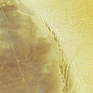 The Al Kufrah Oasis in southeastern Libya is shown in this Envisat image