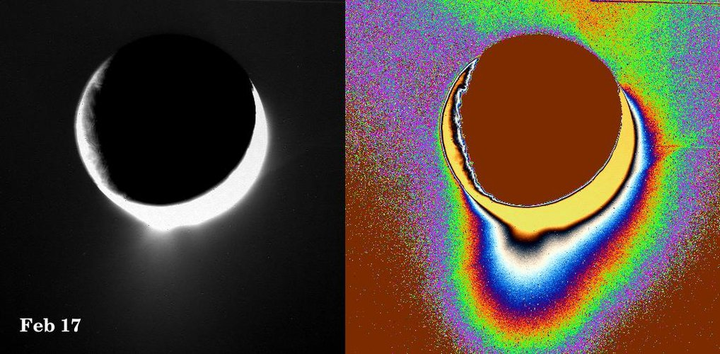 Water-vapour jets rise from Enceladus's south pole
