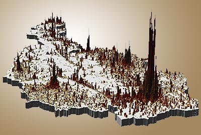 3D population density map of Austria