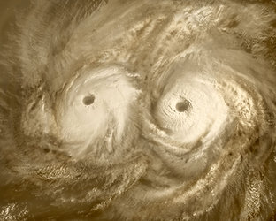 Artist's view of atmospheric vortex over Venus'  North pole