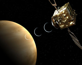Artist's view of Venus Radio Science experiment