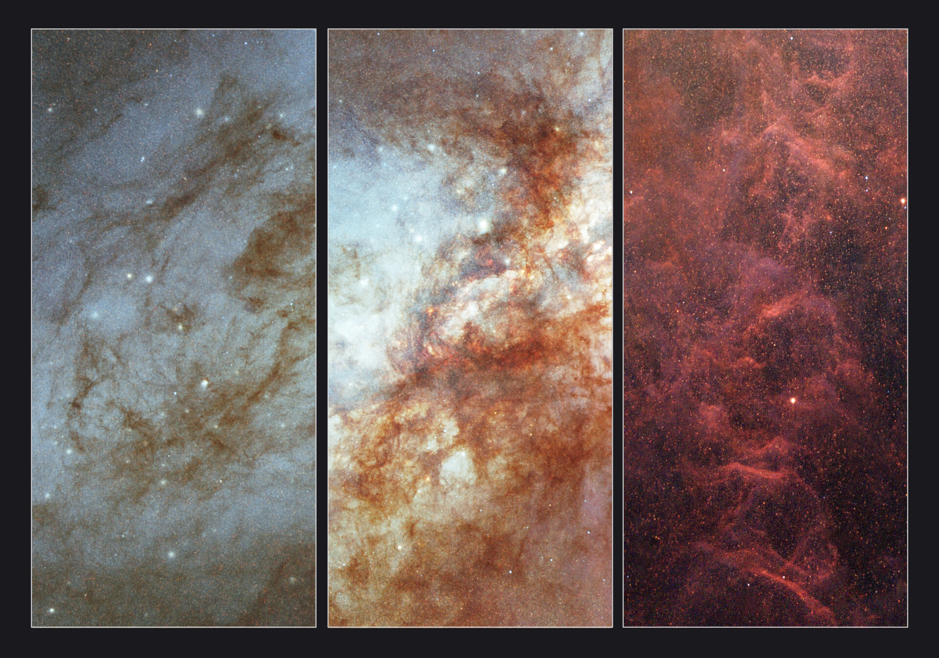 Close-up views of  the active galaxy M82