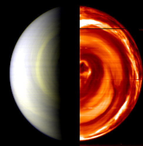 Dark Vortex over South Pole of Venus