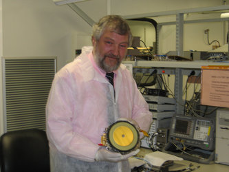 ESA SMOS Project Manager Achim Hahne holding a LICEF