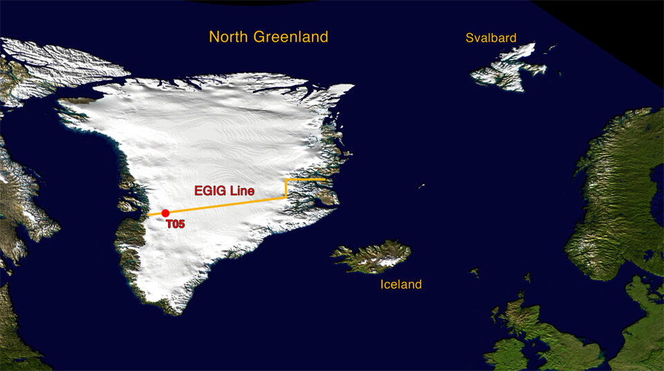 Greenland, showing EGIG line and site of T05