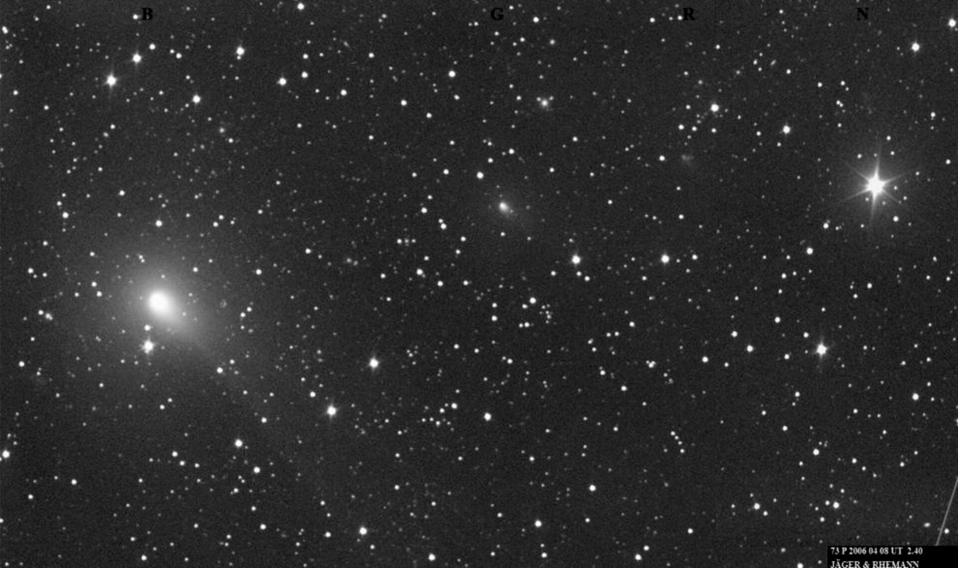 Ground based view of breaking-up Comet 73P/Schwassmann-Wachmann 3