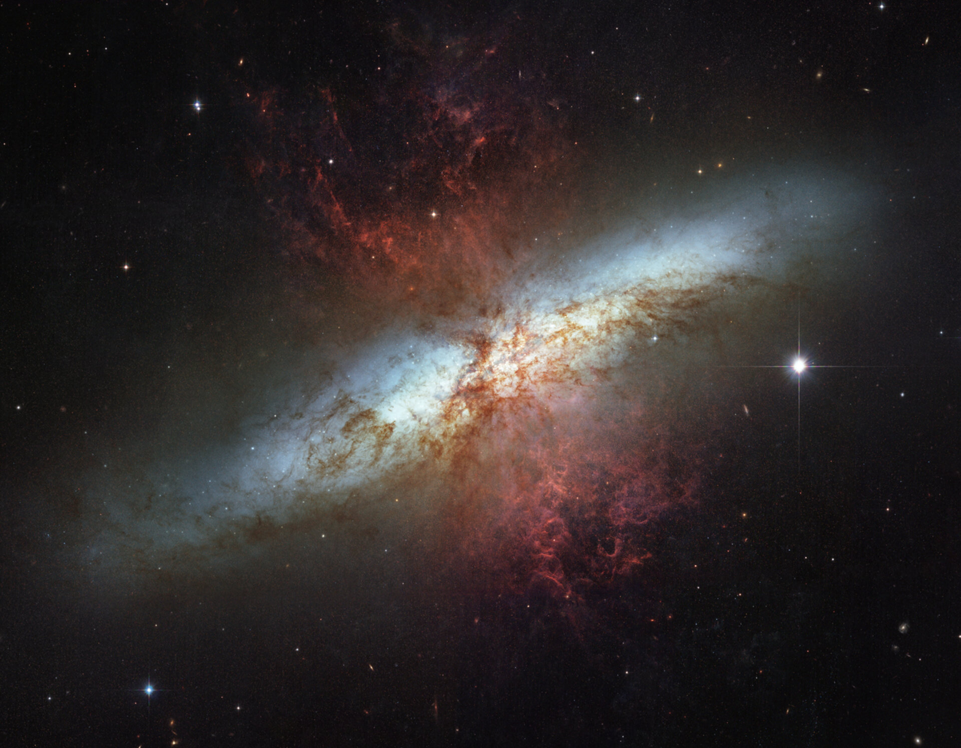 Hubble's view of  the 'Cigar Galaxy' (M82)