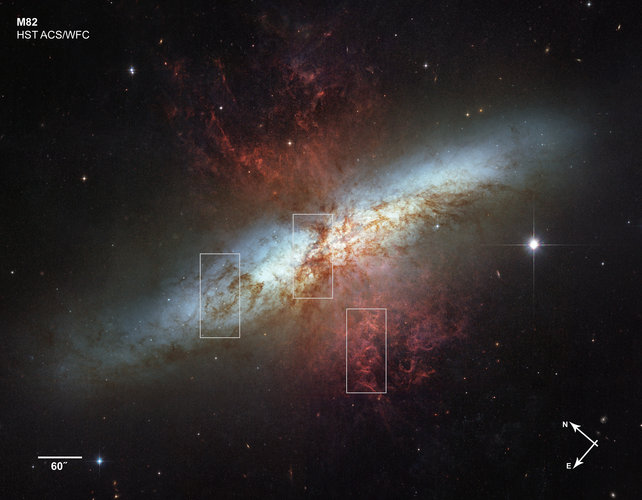 Location of three close-up views of the M82 image