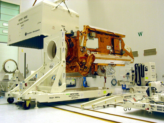 MetOp's Payload Module fixed to a multi-purpose trolley for transfer to the 'clean room'