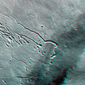 Pavonis Mons, 3-D anaglyph