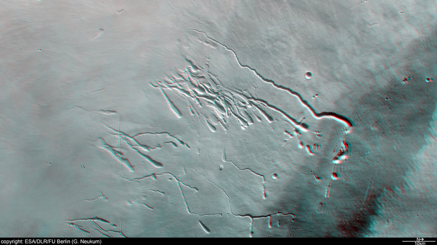 3D anaglyph of Pavonis Mons in Tharsis Montes