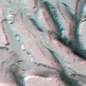 3D anaglyph view of grabens in Tempe Terra