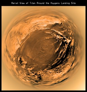 Fish-eye image of Titan's surface