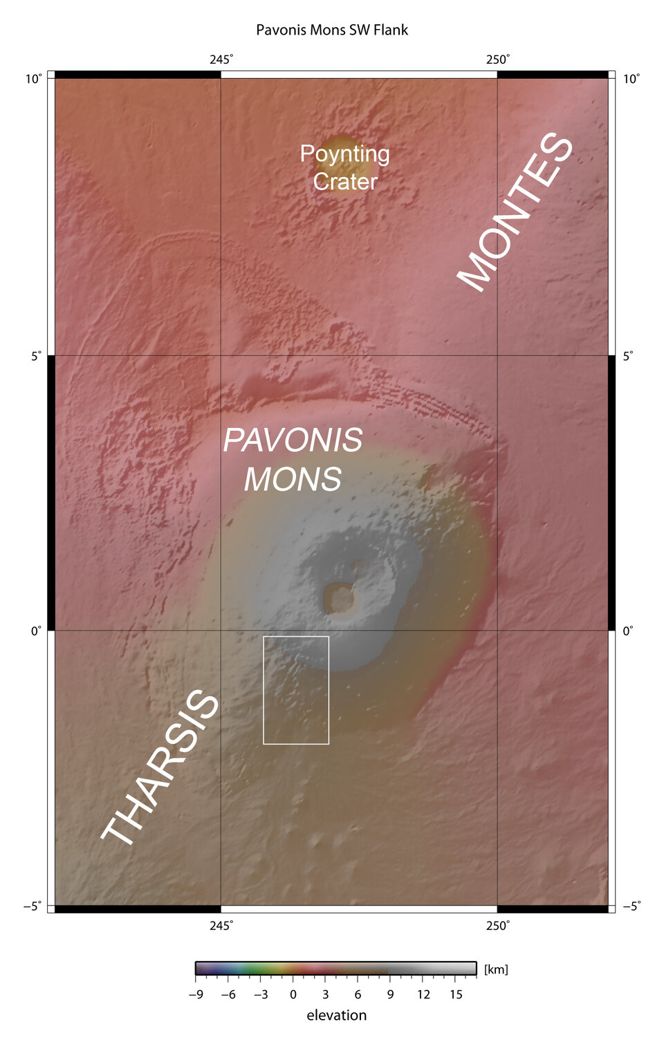 Map showing Pavonis Mons in context