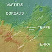 Map showing Tempe Terra in context