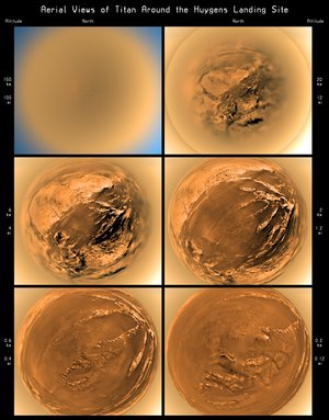 Stereographic view of Titan's surface