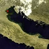 True-colour MERIS image of the Adriatic showing location of the