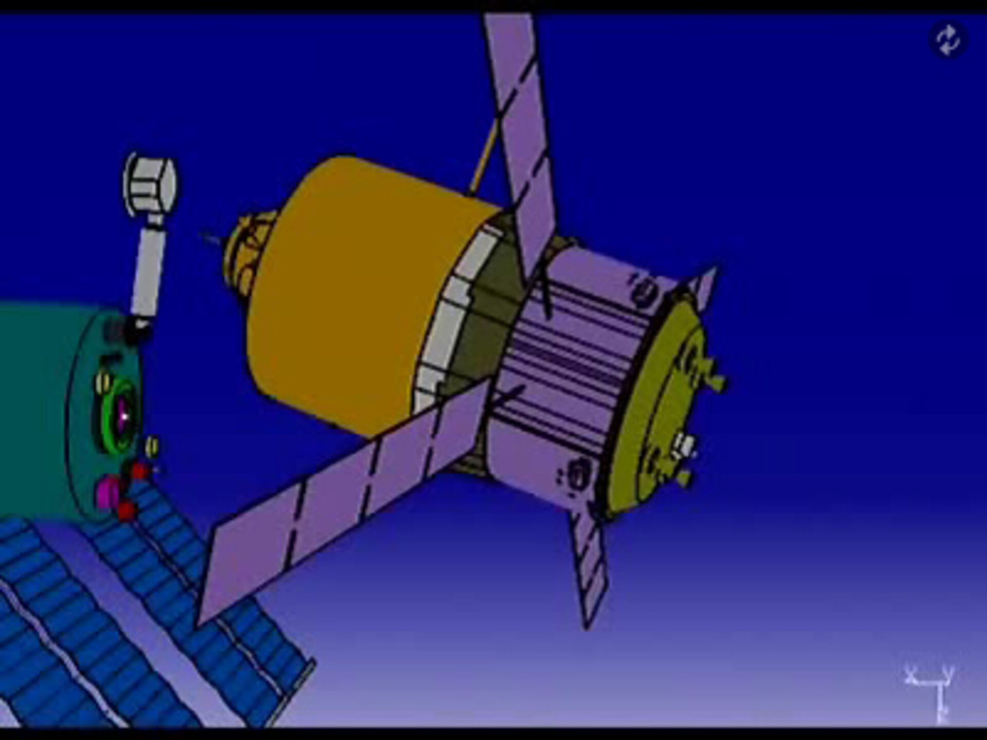 Animation showing the initiation of a Collision Avoidance Manoeuvre - ATV backs away from ISS