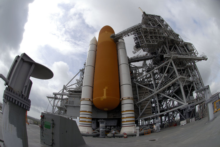 Space Shuttle Discovery stands ready on Launch Pad 39B at NASA's Kennedy Space Center, in Florida