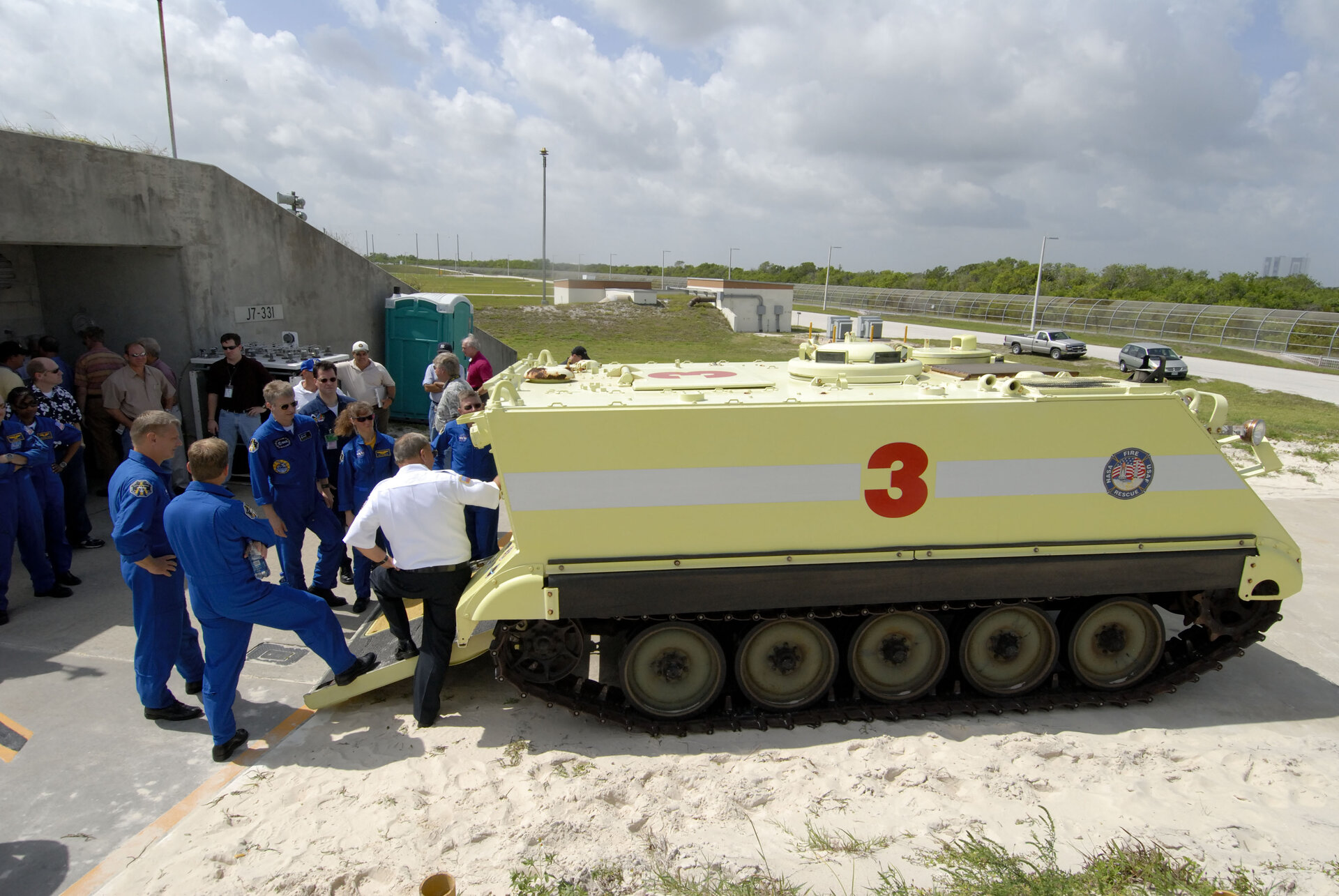 STS-121 crew are shown a fire rescue vehicle at NASA's Kennedy Space Center