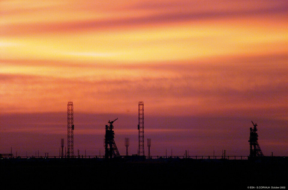 Sunset over the launch pad at Baikonur