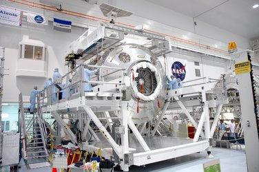 The European Columbus laboratory settles into a new home in the Space Station Processing Facility at NASA's Kennedy Space Center