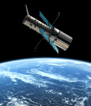 Artist's impression of the ESA/NASA Hubble Space Telescope in its orbit 600 km above the Earth