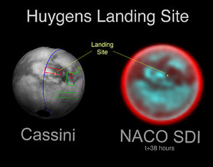Infrared views of Huygens landing site