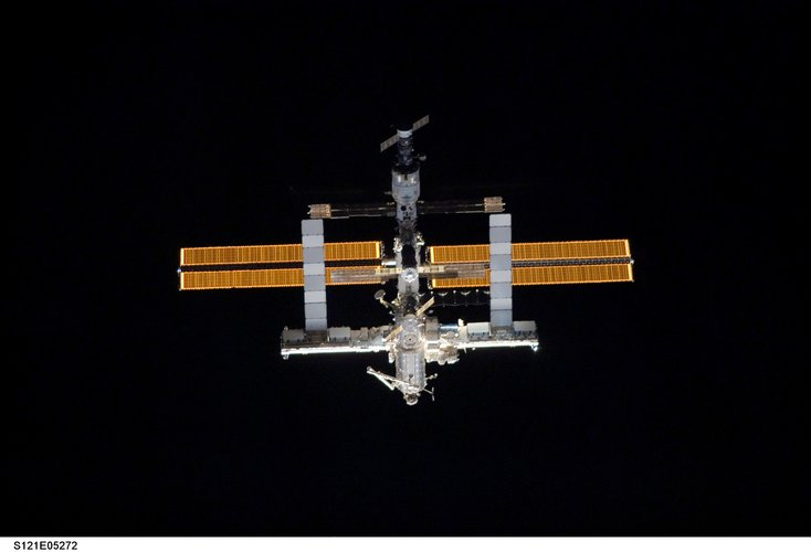 ISS seen from Space Shuttle Discovery during docking operations on 6 July 2006