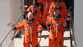 STS-121 crew displays the spirit of the Fourth of July