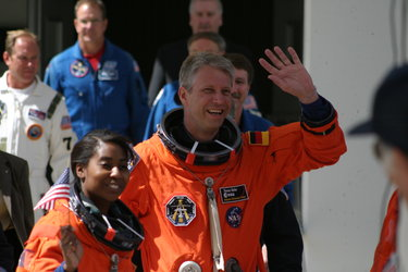 Thomas Reiter during walkout to 'Astrovan' which takes STS-121 crew to Launch Pad 39B