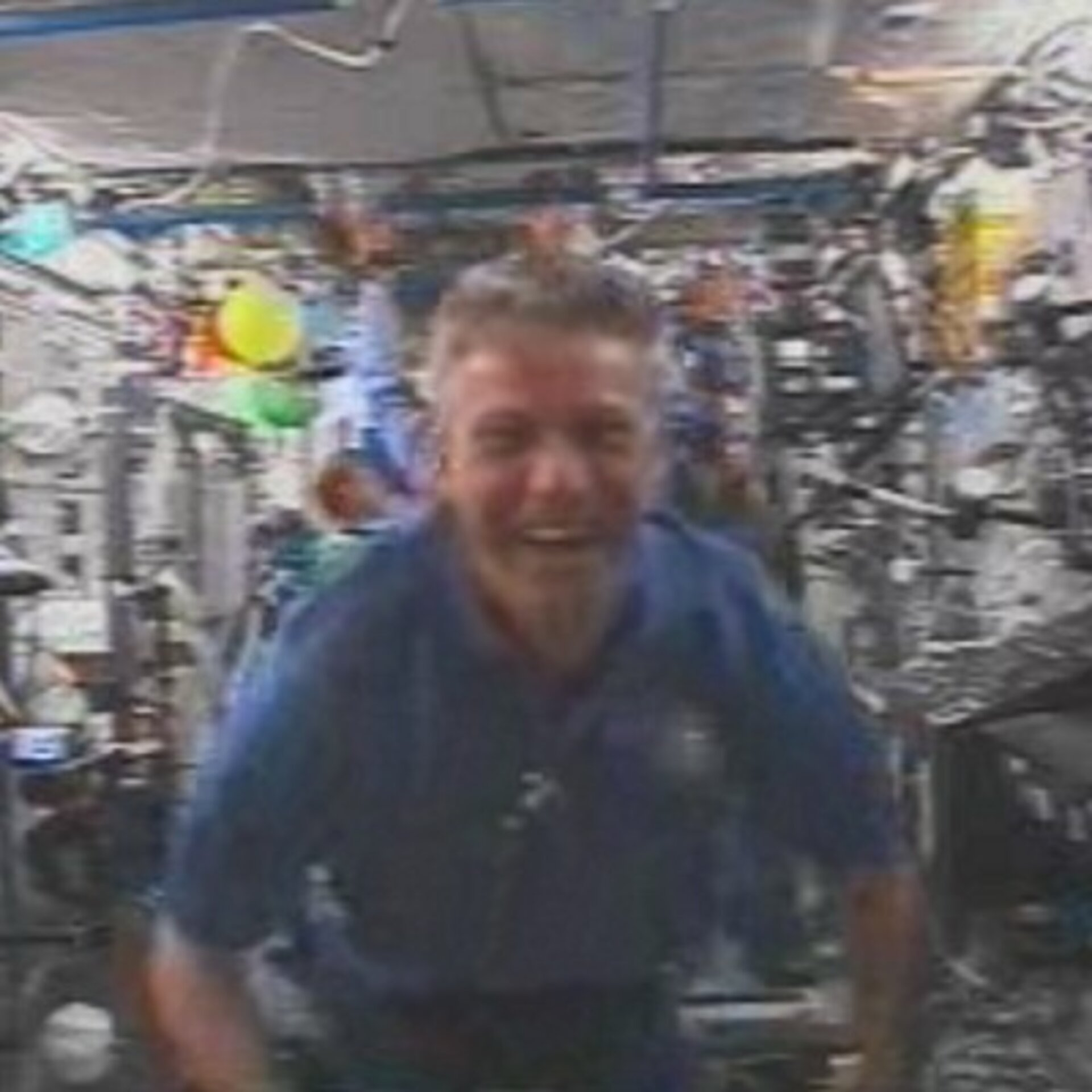 Thomas Reiter shortly after entering ISS for the first time