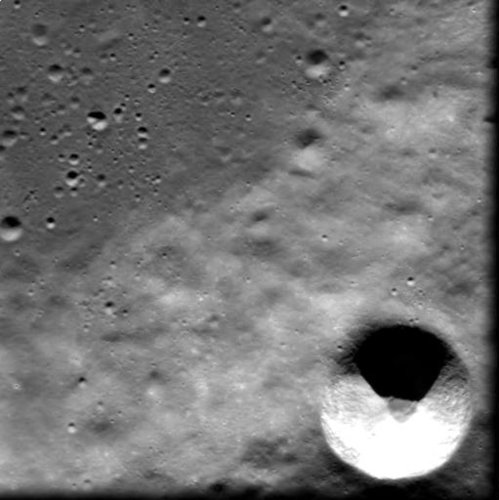 Young crater 'Cuvier C' as seen by SMART-1