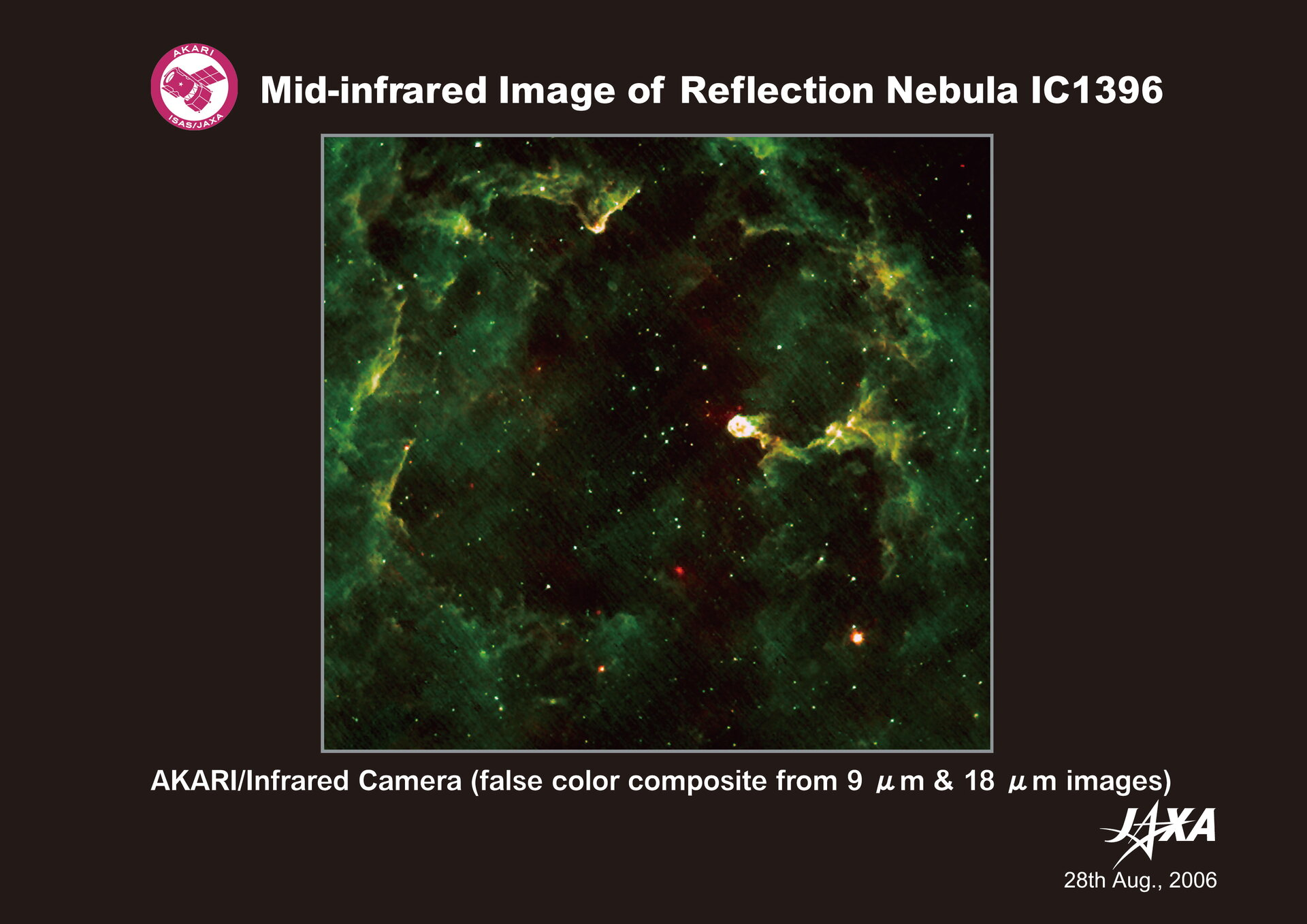 AKARI's mid-infrared image of reflection nebula IC 1396