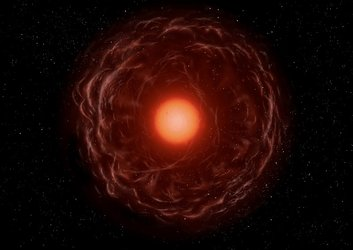Artist's impression of a red-giant star ejecting matter