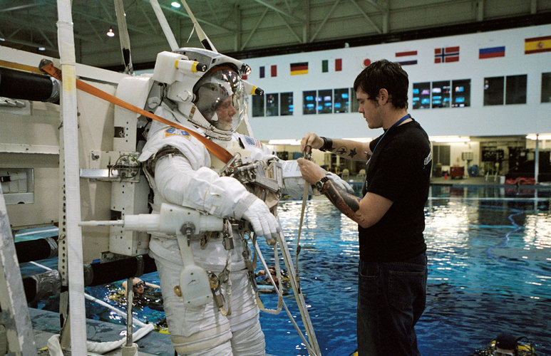 Astronaut Christer Fuglesang prepares for underwater EVA training
