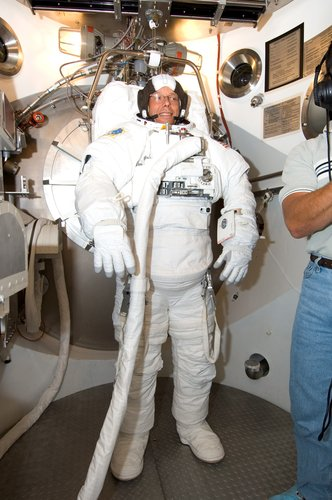 EVA spacesuit fit check for Fuglesang