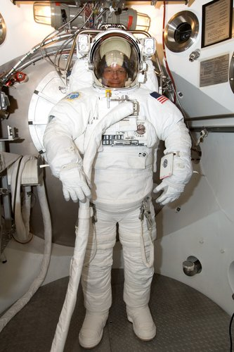 Fuglesang during EVA spacesuit fit check