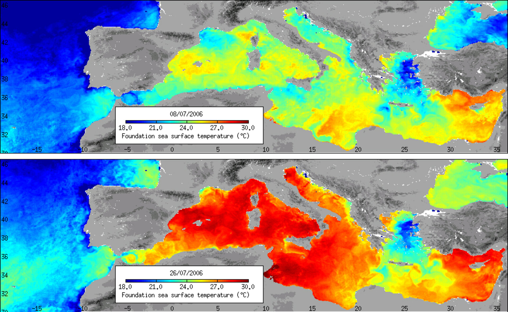 Heat maps of the Mediterranean