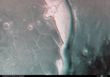 Kasei Valles, 3D anaglyph showing Northern branch
