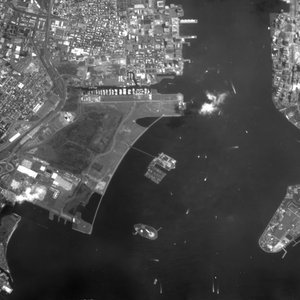 Proba image of Liberty Island and Ellis Island in the New York Harbour