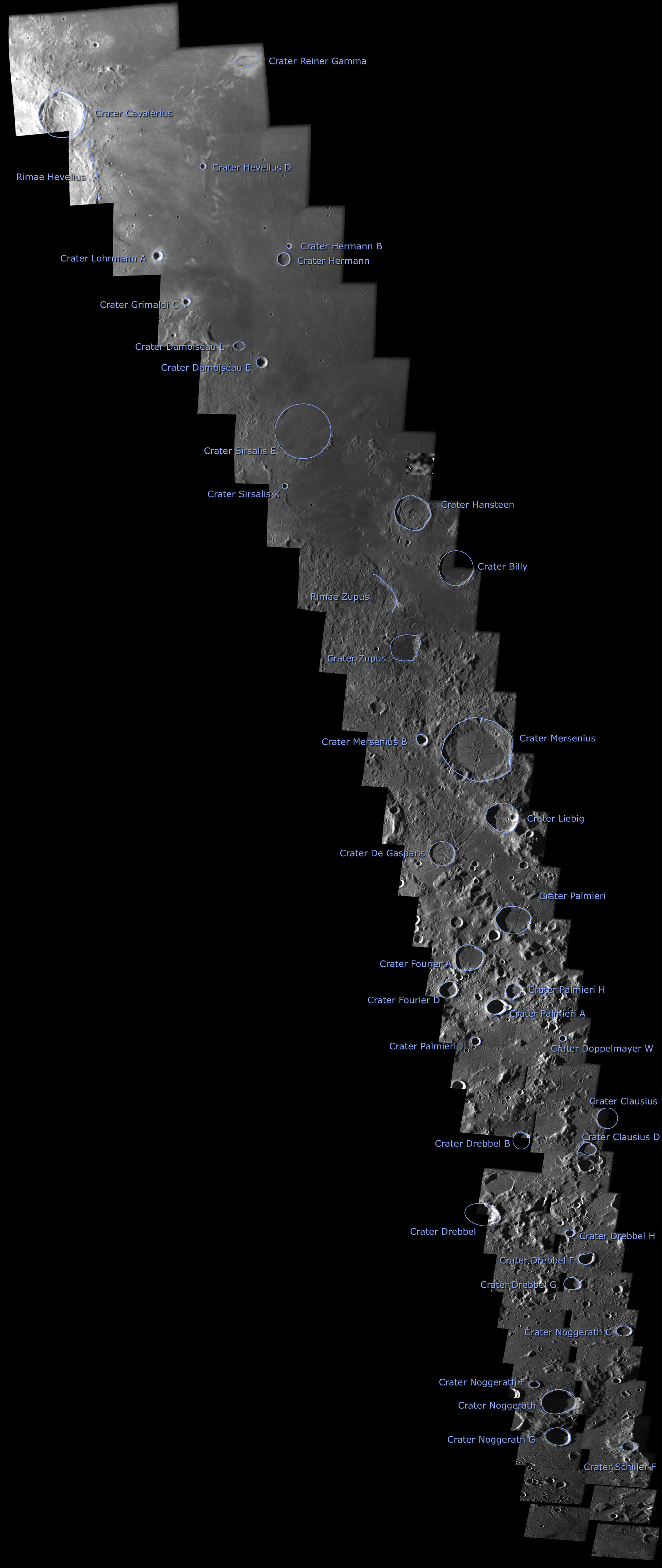 Annotated strip of the lunar near side including SMART-1 impact site