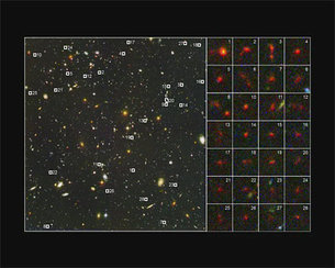 Close-ups of 28 young distant galaxies